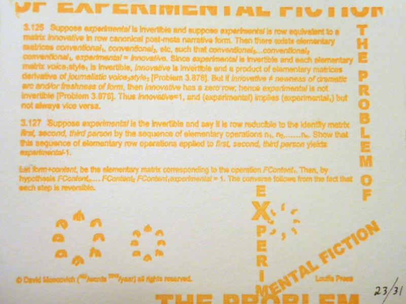 the Problem of eXperimental Fiction (letterpress postcard) by David Moscovich